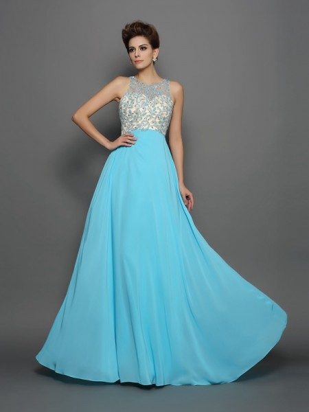 A-Line/Princess Chiffon Beading Scoop Sleeveless Sweep/Brush Train Dresses