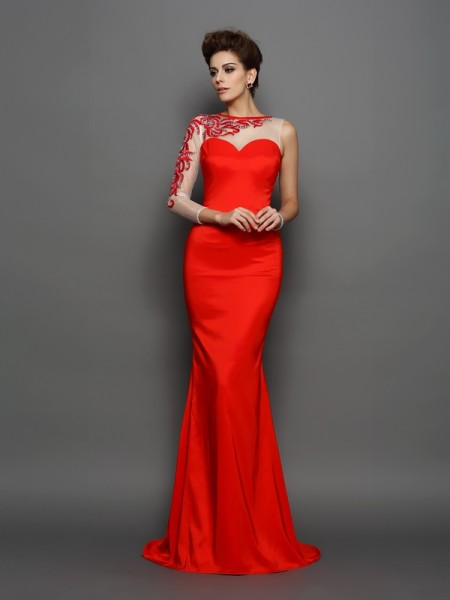 Trumpet/Mermaid Elastic Woven Satin Embroidery High Neck Long Sleeves Court Train Dresses
