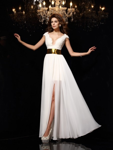 A-Line/Princess Chiffon Lace V-neck Sleeveless Floor-Length Dresses