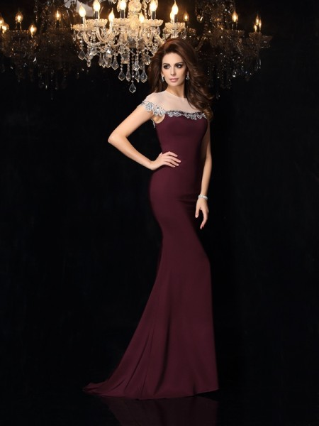 Trumpet/Mermaid Elastic Woven Satin Applique High Neck Sleeveless Court Train Dresses