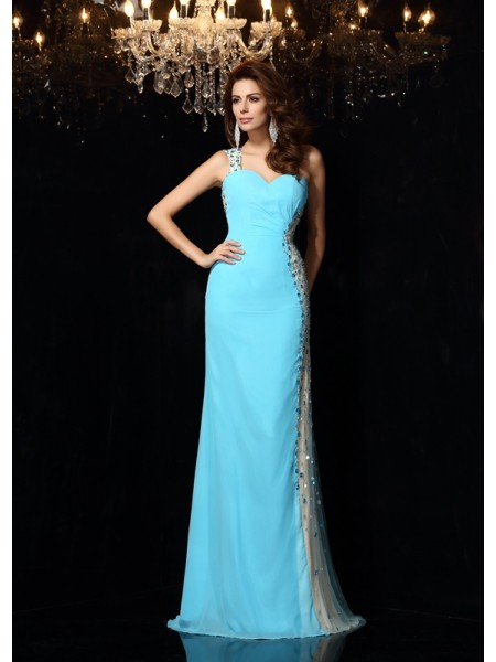 Sheath/Column Chiffon Rhinestone One-Shoulder Sleeveless Floor-Length Dresses