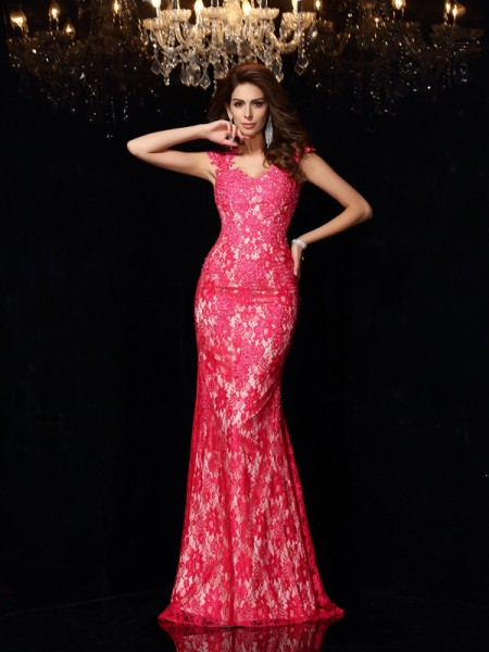 Sheath/Column Elastic Woven Satin V-neck Sleeveless Floor-Length Lace Dresses