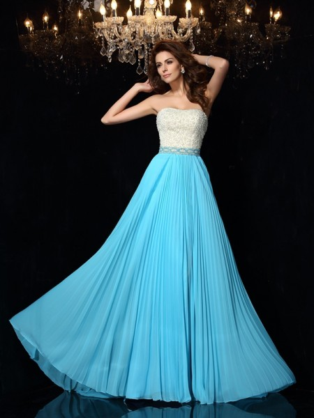 A-Line/Princess Strapless Chiffon Sweep/Brush Train Beading Sleeveless Dresses