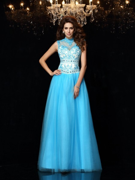 A-Line/Princess Satin High Neck Applique Floor-Length Sleeveless Dresses