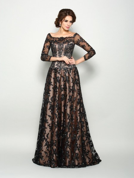A-Line/Princess Satin Lace Off-the-Shoulder 3/4 Sleeves Court Train Mother of the Bride Dresses