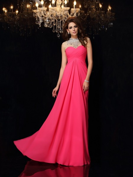 A-Line/Princess Chiffon High Neck Ruched Sweep/Brush Train Sleeveless Dresses