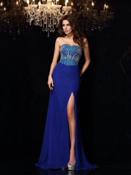 Sheath/Column Chiffon Sweetheart Sleeveless Sweep/Brush Train Beading Dresses