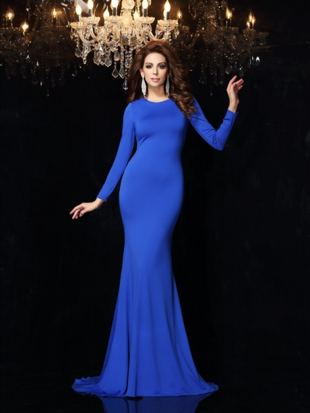 Trumpet/Mermaid Spandex Scoop Long Sleeves Sweep/Brush Train Dresses