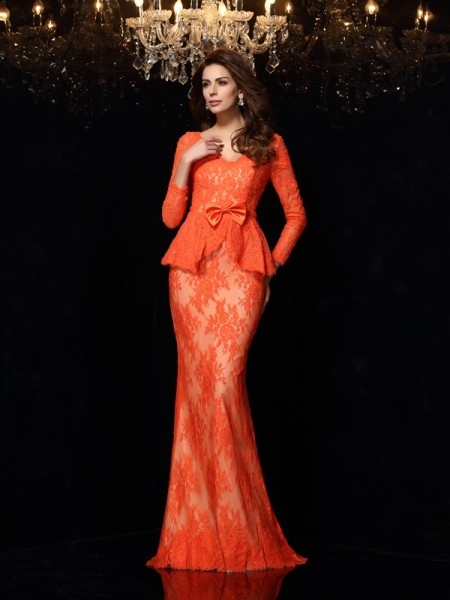 Sheath/Column Lace V-neck Long Sleeves Bowknot Sweep/Brush Train Dresses