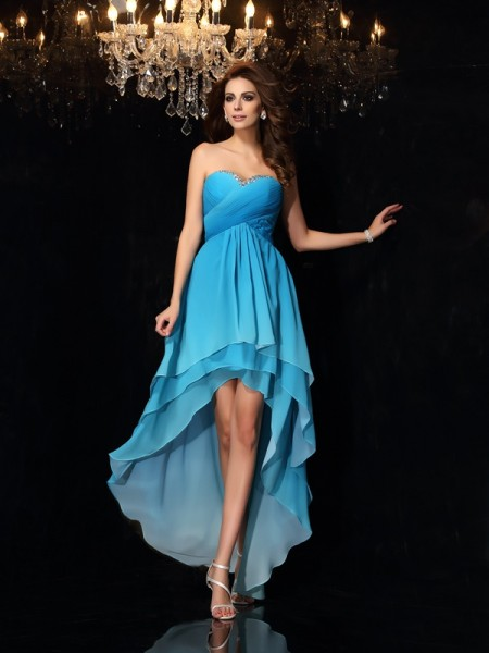 A-Line/Princess Sweetheart Chiffon Ruched Sleeveless Asymmetrical Dresses