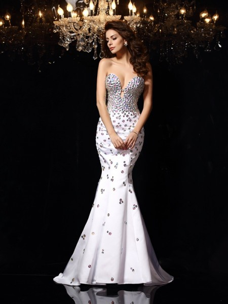 Trumpet/Mermaid Sweetheart Satin Rhinestone Sleeveless Court Train Dresses