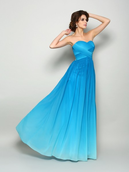 A-Line/Princess Chiffon Pleats Sweetheart Sleeveless Floor-Length Dresses