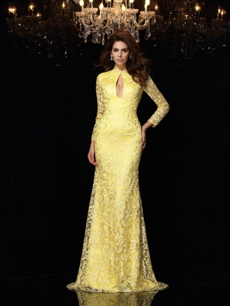 Sheath/Column Satin High Neck Sweep/Brush Train Lace Long Sleeves Dresses