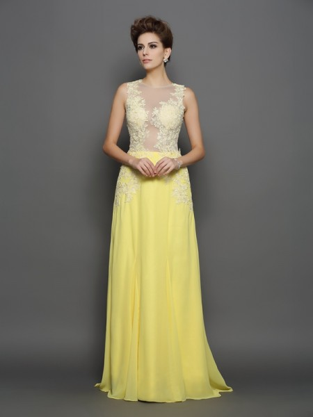 A-Line/Princess Chiffon Lace Scoop Sleeveless Sweep/Brush Train Dresses