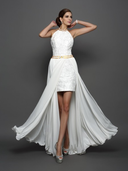 A-Line/Princess Chiffon Lace High Neck Sleeveless Chapel Train Wedding Dresses