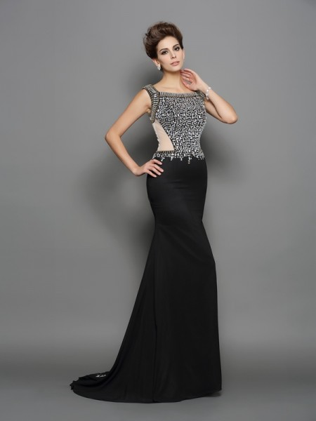 Trumpet/Mermaid Beading Square Chiffon Sweep/Brush Train Sleeveless Dresses