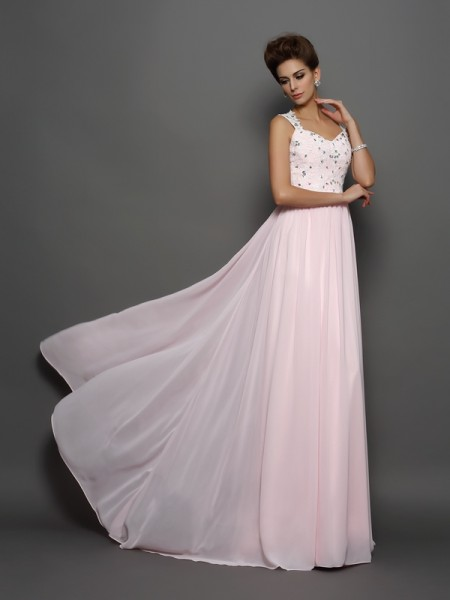 A-Line/Princess Straps Beading Chiffon Sweep/Brush Train Sleeveless Dresses