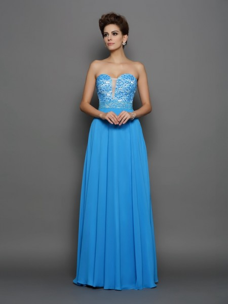 A-Line/Princess Chiffon Sweetheart Sleeveless Applique Floor-Length Dresses