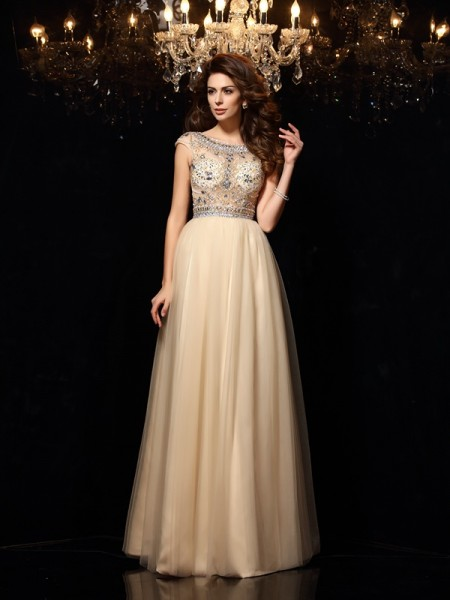 A-Line/Princess Net Scoop Sleeveless Beading Floor-Length Dresses