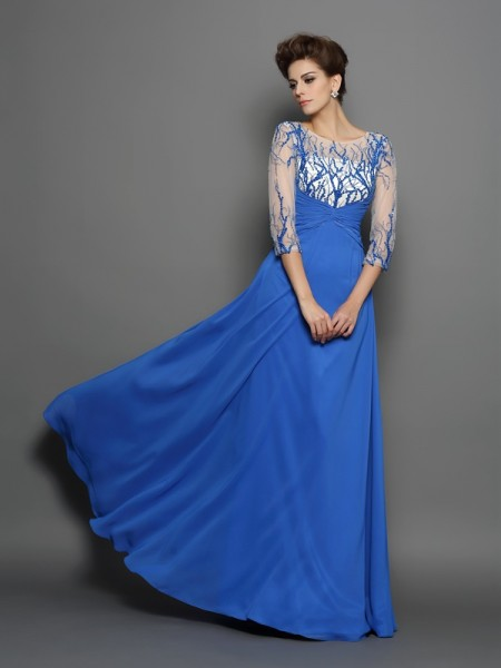 A-Line/Princess Chiffon Scoop 1/2 Sleeves Applique Floor-Length Dresses