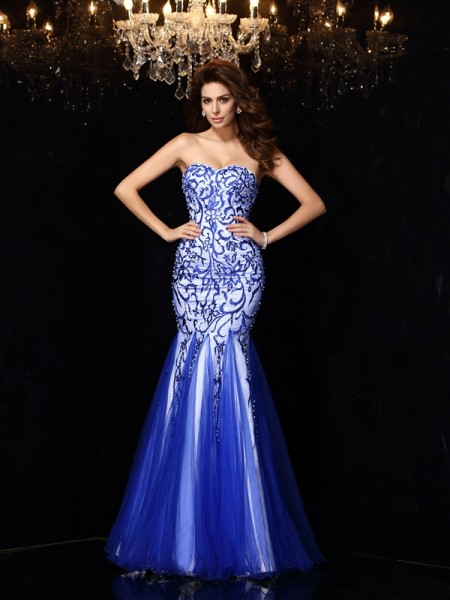 Sheath/Column Net Beading Sweetheart Sleeveless Floor-Length Dresses