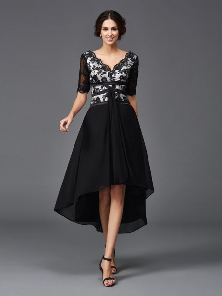 A-Line/Princess Chiffon Lace V-neck 1/2 Sleeves Asymmetrical Dresses