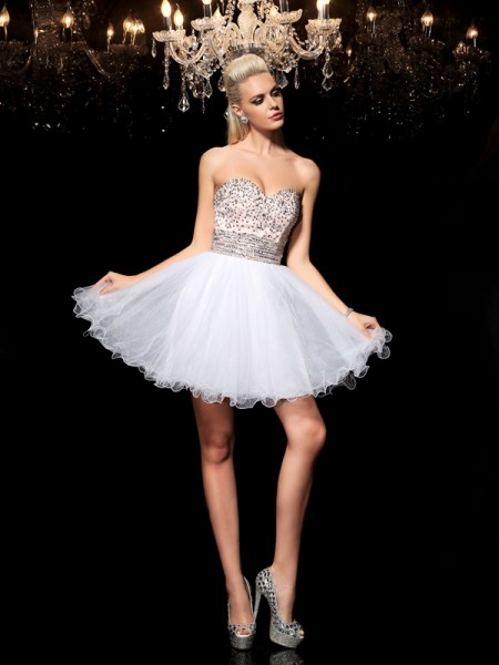 A-Line/Princess Sweetheart Net Beading Sleeveless Short/Mini Dresses