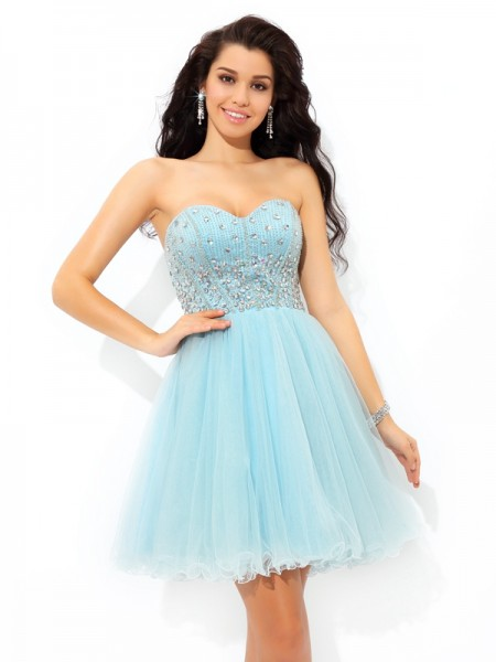 A-Line/Princess Sweetheart Satin Sleeveless Short/Mini Beading Dresses