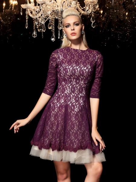 A-Line/Princess Sheer Neck 1/2 Sleeves Lace Short/Mini Dresses