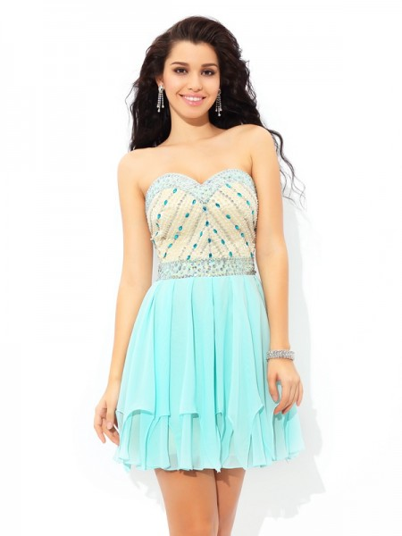 A-Line/Princess Chiffon Sweetheart Beading Short/Mini Sleeveless Dresses