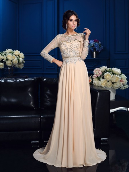 A-Line/Princess Chiffon Beading Scoop Long Sleeves Sweep/Brush Train Mother of the Bride Dresses