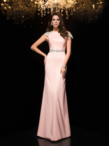 Sheath/Column Jewel Satin Short Sleeves Beading Floor-Length Dresses