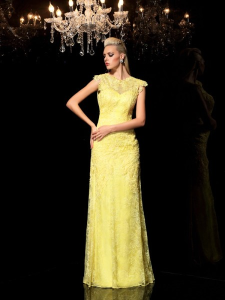 Sheath/Column Chiffon Sheer Neck Sleeveless Lace Floor-Length Dresses