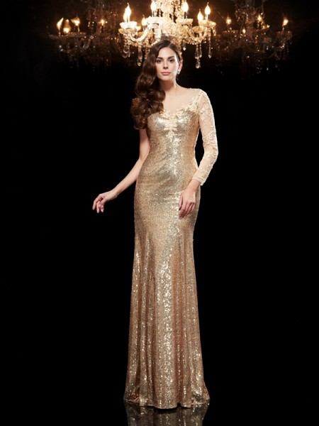 Trumpet/Mermaid Scoop Sequins 3/4 Sleeves Floor-Length Lace Dresses