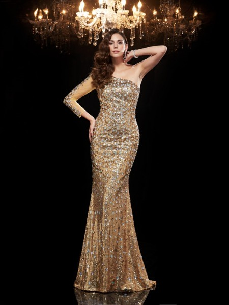 Trumpet/Mermaid Sequins One-Shoulder Beading Floor-Length 3/4 Sleeves Dresses