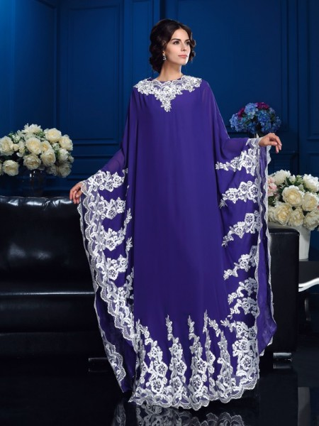 A-Line/Princess Chiffon Scoop Long Sleeves Floor-Length Applique Mother of the Bride Dresses