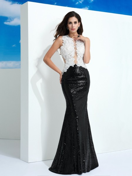 Sheath/Column Scoop Lace Paillette Sleeveless Floor-Length Dresses