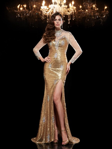 Trumpet/Mermaid High Neck Sequins Beading 3/4 Sleeves Sweep/Brush Train Dresses