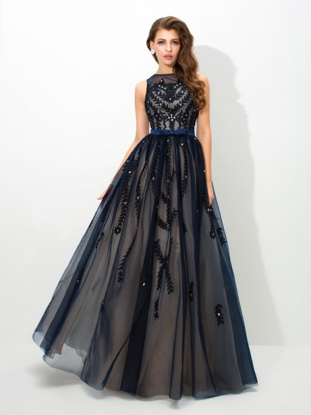 A-Line/Princess Tulle Applique Sheer Neck Floor-Length Sleeveless Dresses