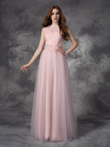 A-Line/Princess Net Hand-Made Flower Bateau Sleeveless Floor-Length Dresses