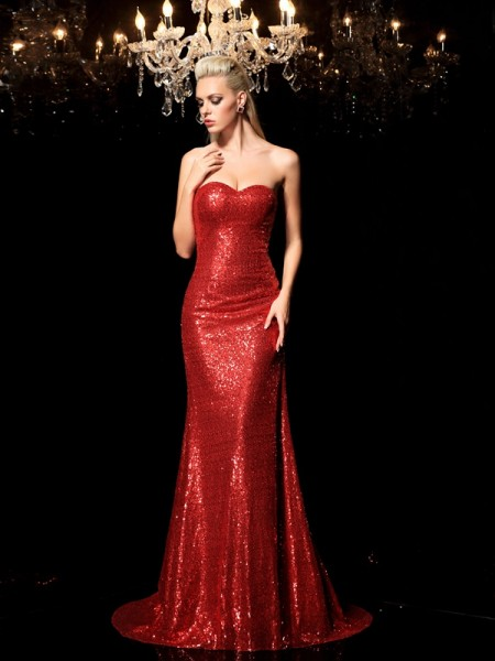 Sheath/Column Sequins Sequin Sweetheart Sleeveless Sweep/Brush Train Dresses