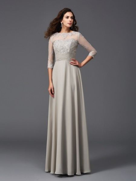 A-Line/Princess Chiffon Scoop 3/4 Sleeves Applique Floor-Length Dresses