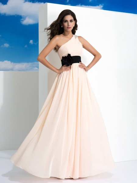 A-Line/Princess Chiffon One-Shoulder Sash/Ribbon/Belt Floor-Length Sleeveless Dresses