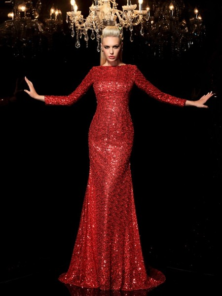 Sheath/Column Sequins Scoop Sweep/Brush Train Sequin Long Sleeves Dresses