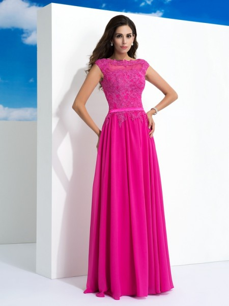 A-Line/Princess Chiffon Sheer Neck Lace Floor-Length Sleeveless Dresses