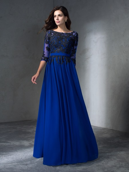 A-Line/Princess Chiffon Scoop 3/4 Sleeves Floor-Length Applique Dresses