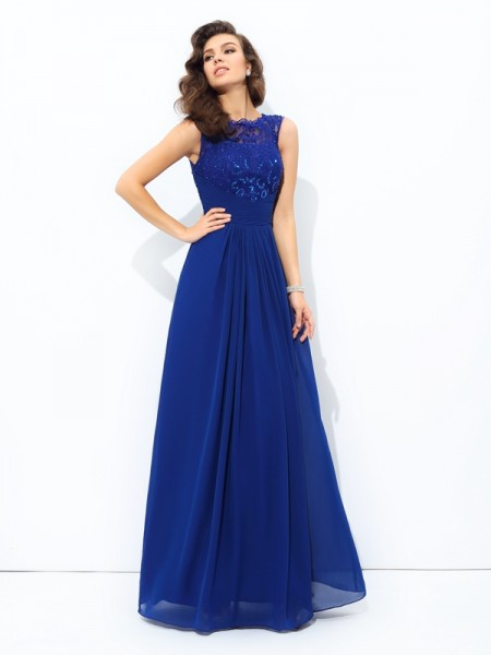 A-Line/Princess Scoop Chiffon Sleeveless Lace Floor-Length Dresses