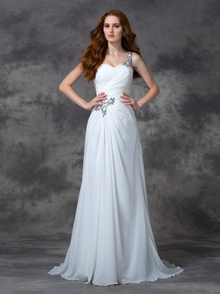 A-Line/Princess Chiffon One-Shoulder Beading Sweep/Brush Train Sleeveless Wedding Dresses