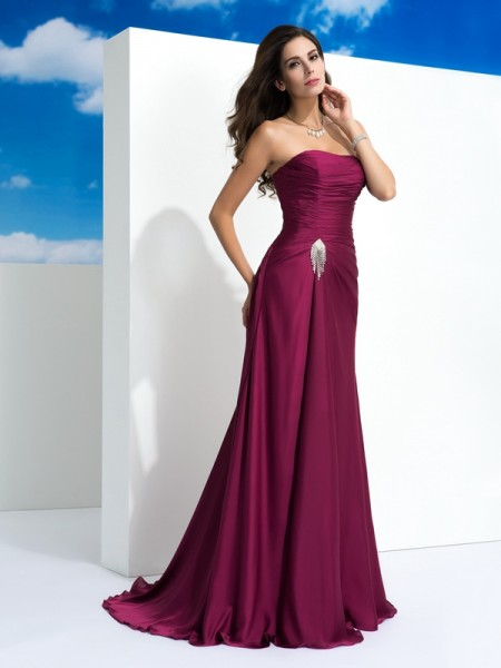 A-Line/Princess Satin Chiffon Strapless Sleeveless Pleats Sweep/Brush Train Dresses