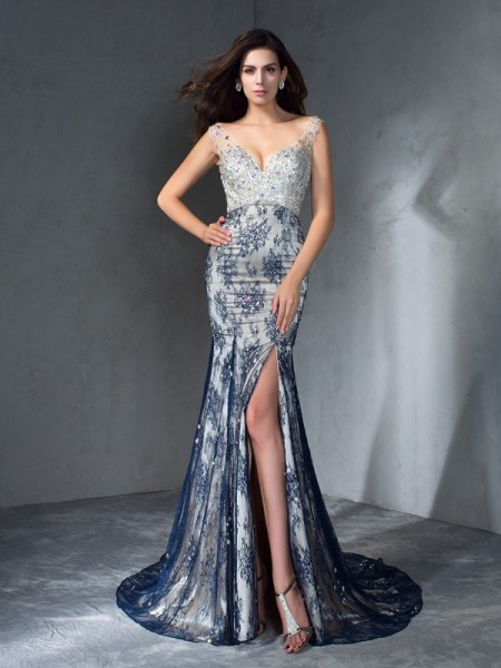 Trumpet/Mermaid Lace V-neck Sleeveless Sweep/Brush Train Beading Dresses